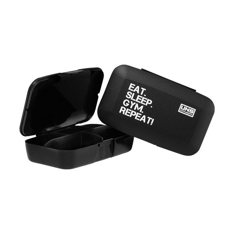 Pillbox - Eat Sleep Gym Repeat Black