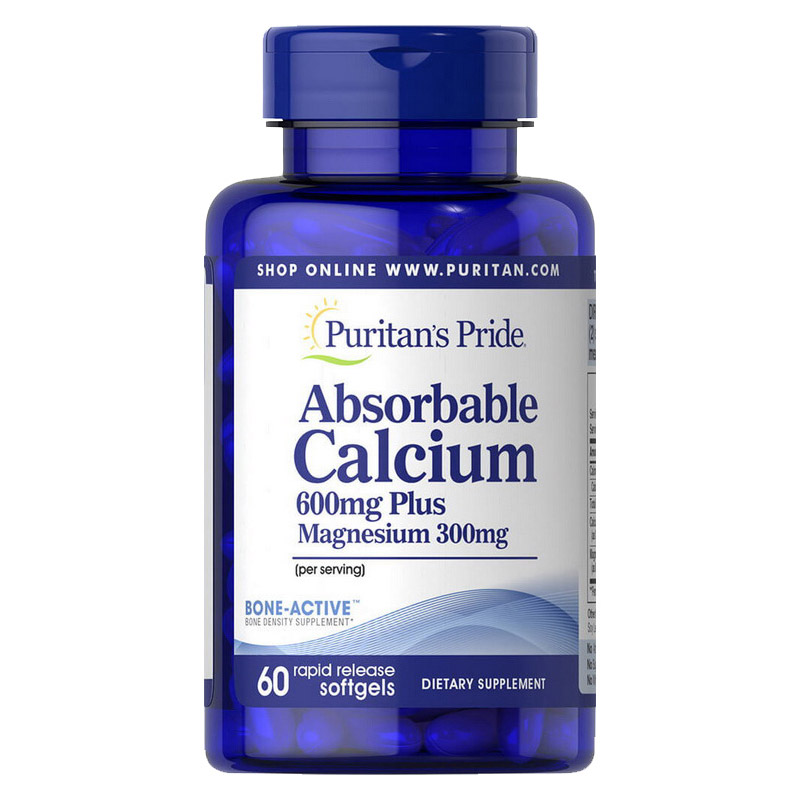 Absorbable Calcium 600 mg Plus Magnesium 300 mg (60 softgels)