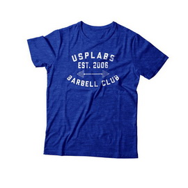 Barbell Club Fitted T-Shirt Blue/White (S, M, L, XL, XXL)