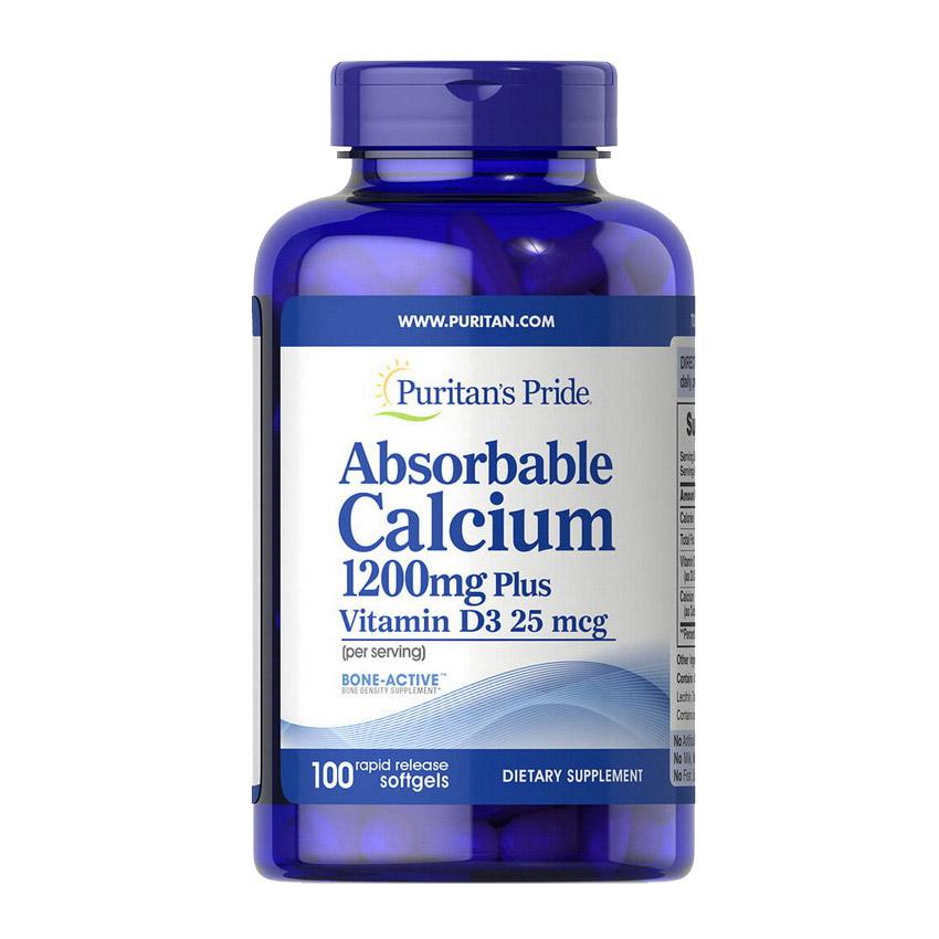 Absorbable Calcium 1200 mg Plus Vitamin D3 25 mcg (100 softgels)