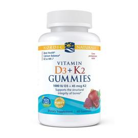 Vitamin D3+K2 Gummies 1000 IU/45 mcg (60 gummies)