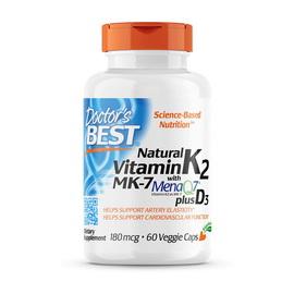 Natural Vitamin K2 MK-7 with MenaQ7 180 mcg (60 veg caps)