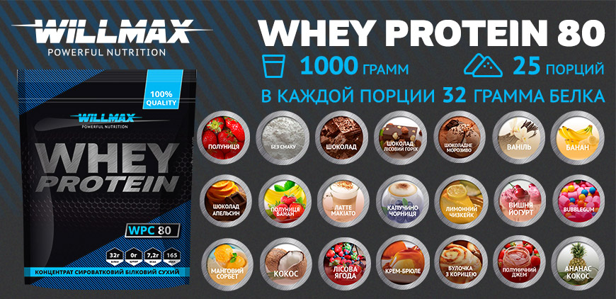 Баннер WILLMAX Whey Protein 80